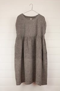 Dve one size Rima dress in charcoal chambray linen, pin tucked bodice back and front, side pockets, easy fit.