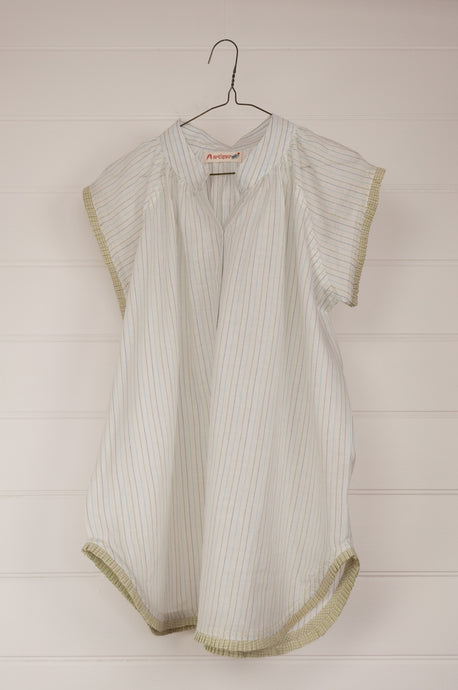 Artisav Mio top in white khadi cotton, stripes in green and blue, button up cap sleeves with fine pleat trim.