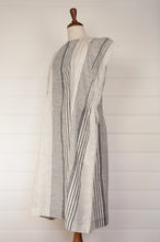 Load image into Gallery viewer, Dve Rima dress in charcoal and white striped linen, pin tucked in panels, one size easy fit.