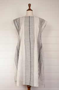 Dve Rima dress in charcoal and white striped linen, pin tucked in panels, one size easy fit.