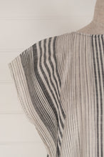Load image into Gallery viewer, Dve Rima dress in charcoal and white striped linen, pin tucked in panels, one size easy fit (sleeve detail).