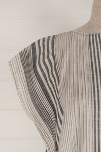 Dve Rima dress in charcoal and white striped linen, pin tucked in panels, one size easy fit (sleeve detail).