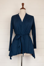 Load image into Gallery viewer, Valia Collective cotton knit long sleeved belted cardigan in midnight blue.