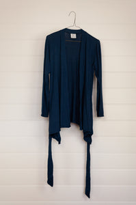 Valia Collective cotton knit long sleeved belted cardigan in midnight blue.