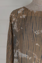 Load image into Gallery viewer, Raga Clara easy fit one size top with three quarter sleeves, indigo shibori on tea coloured natural silk with over bleach patterning (close up).