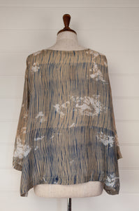 Raga Clara easy fit one size top with three quarter sleeves, indigo shibori on tea coloured natural silk with over bleach patterning (back view).