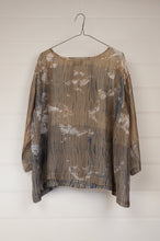 Load image into Gallery viewer, Raga Clara easy fit one size top with three quarter sleeves, indigo shibori on tea coloured natural silk with over bleach patterning.