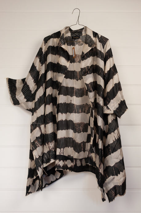 Raga Chang jacket, black and white shibori silk, loose fitting one size long kimono jacket.