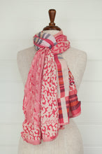 Load image into Gallery viewer, Létol organic cotton jacquard scarf, made in France. Georgia design in Tutu, stripes and abstract animal print in shades of pink, with highlights in silver grey, burgundy and crimson.