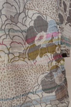 Load image into Gallery viewer, Létol organic cotton jacquard scarf, made in France. Samantha design in Nuage, a field of flowers in soft silver and cloud grey, subtle highlights in pink, gold and aqua.