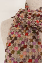 Load image into Gallery viewer, Sophie Digard artisan made crocheted fine wool scarf, Way of Life, in the Earth palette, with shades of pinks, lilacs and greens, highlights of vermilion, on an oatmeal ground.