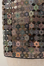 Load image into Gallery viewer, Sophie Digard crocheted wool scarf, Fleur Micro in the EG palette, subtle tones of soft green, lilac, aqua, pink, peach and blue.