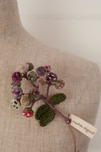 Load image into Gallery viewer, Sophie Digard hand embroidered Immortelle brooch in cotton velvet and pure linen, shades of lilac, rose pink and mushroom.