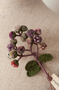 Sophie Digard hand embroidered Immortelle brooch in cotton velvet and pure linen, shades of lilac, rose pink and mushroom.