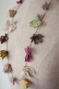 Sophie Digard Juliette necklace, hand embroidered flowers in linen, vintage summer pastels, olive vintage rose, mint, ecru, coffee and taupe.
