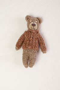 Sophie Digard poupee 15cm wool teddy bear, in the Earth palette, brown with a brown handknitted jumper.