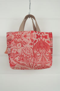 Made in France organic cotton Létol reversible mini tote, red floral print and spot on the reverse.