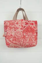 Load image into Gallery viewer, Made in France organic cotton Létol reversible mini tote, red floral print and spot on the reverse.