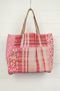 Létol made in France organic cotton reversible  market tote , Georgia print in stripes and animal print in shades of pink and red.