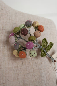 Sophie Digard handmade and embroidered linen brooch, Bulbs design, flowers in soft shades of rose, terracotta, olive and mint.