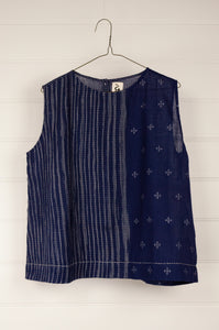 DVE handloom indigo jamdani Aishani top, button through back, pin tucked panel and hand stitched details.