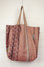 Load image into Gallery viewer, Létol made in France organic cotton reversible large tote bag, jacquard pattern in Milan design in sorbet colours of blush pink, mint, lilac, light blue and silver with a geometric pattern in rust and terracotta reverse.