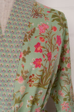 Load image into Gallery viewer, Ethically made cotton voile kimono robe dressing gown in a mint green floral print with pink highlights, and matching trim.