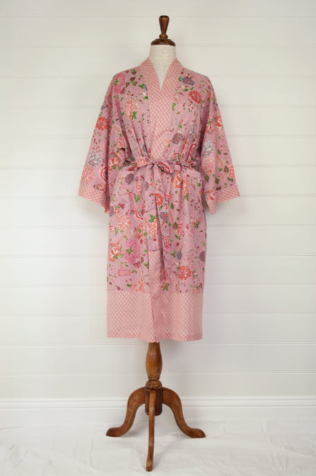 Ethically made, cotton voile kimono robe dressing gown in pink floral print.