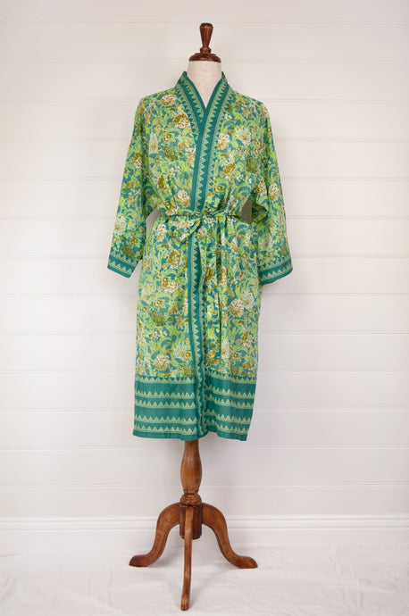 Ethically made, cotton voile kimono robe dressing gown in green floral print.