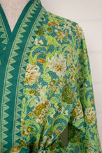 Load image into Gallery viewer, Ethically made, cotton voile kimono robe dressing gown in green floral print.