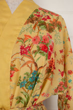 Load image into Gallery viewer, Ethically made, cotton voile kimono robe dressing gown in yellow floral print.