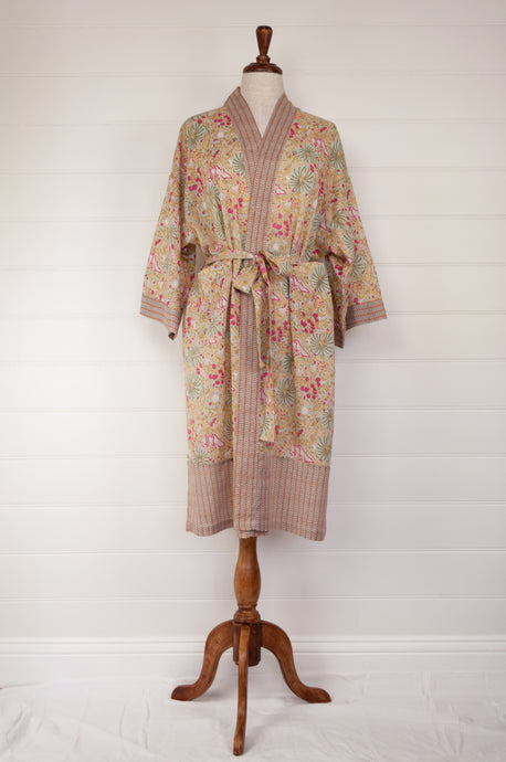 Ethically made, cotton voile kimono robe dressing gown in pale lime green floral print.