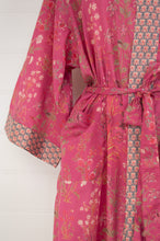 Load image into Gallery viewer, Ethically made, cotton voile kimono robe dressing gown in deep raspberry pink floral print.