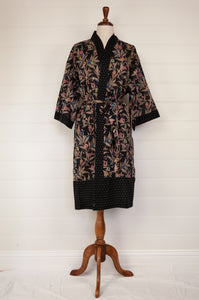 Ethically made, cotton voile kimono robe dressing gown in floral print on black.