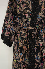 Load image into Gallery viewer, Ethically made, cotton voile kimono robe dressing gown in floral print on black.