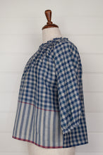 Load image into Gallery viewer, Runaway Bicycle Mary gathered neck and three quarter gathered sleeve top in blue on blue gingham cotton with raspberry red selvedge details.