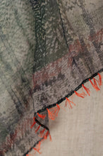 Load image into Gallery viewer, Neeru Kumar digital print cotton silk scarf in shades of grey green and silver with orange button hole edge stitching and tassels.