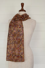 Load image into Gallery viewer, Sophie Digard Pastille Pop Minus merino wool crochet scarf, made by hand in Madagascar, in a rust palette with accents of lilac, gold, terracotta and olive