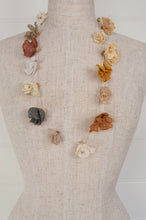 Load image into Gallery viewer, Sophie Digard designed in France, handmade in Madagascar crochet and embroidered linen necklace, Juliette flowers in the natural tones of the Sesam palette.