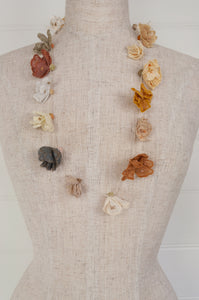 Sophie Digard designed in France, handmade in Madagascar crochet and embroidered linen necklace, Juliette flowers in the natural tones of the Sesam palette.