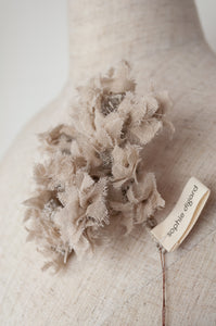 Sophie Digard natural linen hand made and embroidered flower floral brooch.