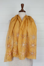 Load image into Gallery viewer, Sophie Digard Lum linen scarf in Sesam palette light mustard with a border embroidered flowers in co-ordinating tones.