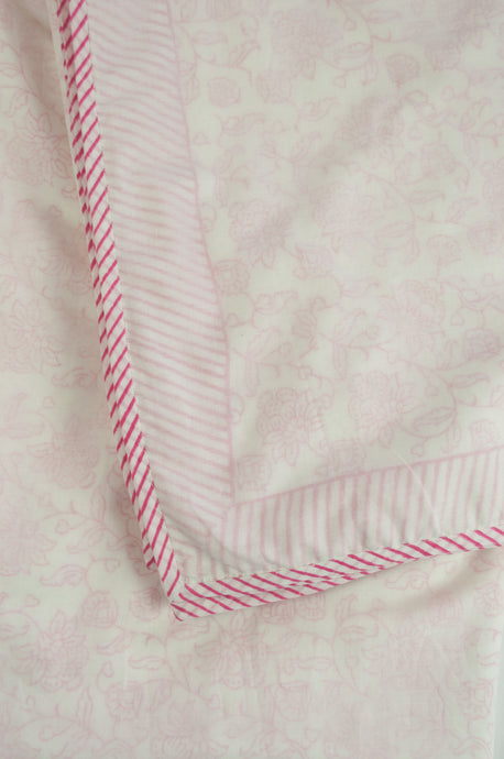 Summer quilt dohar lightweight muslin cotton voile quilt, block printed three layers, rose pink floral print on white with striped border.
