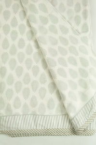 Summer quilt dohar lightweight muslin cotton voile quilt, block printed three layers, olive fern on white with striped border.