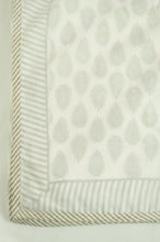 Load image into Gallery viewer, Summer quilt dohar lightweight muslin cotton voile quilt, block printed three layers, olive fern on white with striped border.