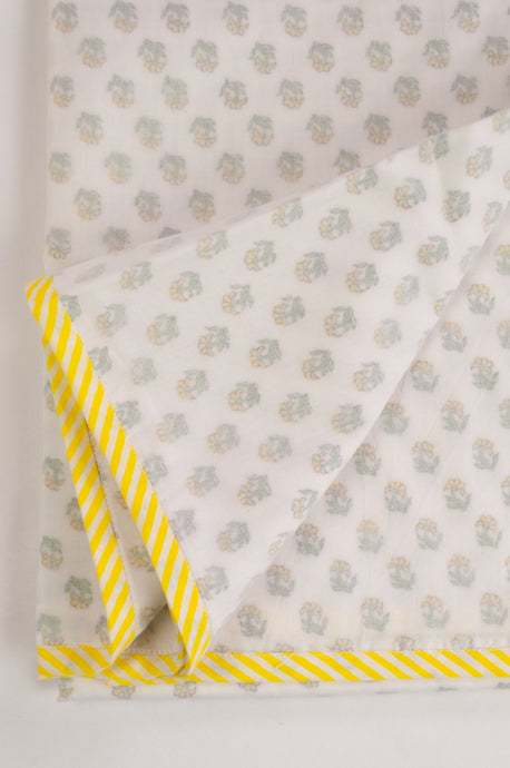 Baby dohar lightweight three layered baby wrap cot quilt, cotton muslin block printed, lemon yellow rose bud pattern.