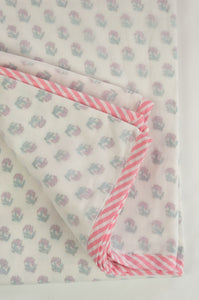 Baby dohar lightweight three layered baby wrap cot quilt, cotton muslin block printed, pink rose bud pattern.