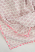 Load image into Gallery viewer, Summer baby quilt dohar lightweight muslin cotton voile quilt, block printed three layers, tiny pink elephants on white with striped border.