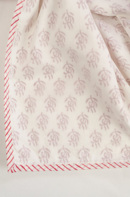 Baby dohar lightweight three layered baby wrap cot quilt, cotton muslin block printed, raspberry red sprig pattern.