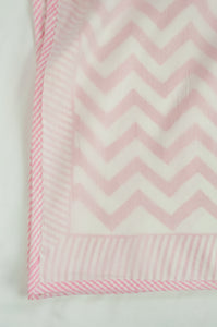 Summer quilt dohar lightweight muslin cotton voile quilt, block printed three layers, rose pink chevron on white with striped border.